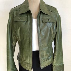 Jackets & Blazers - Olive Green Thin Leather Jacket